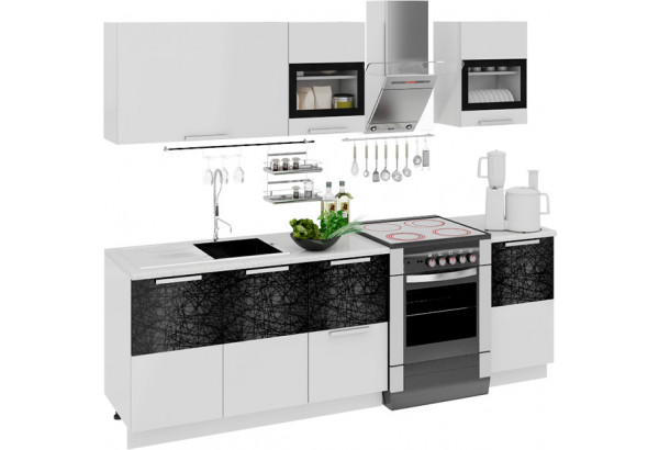 Кухонный гарнитур длиной - 240 см Фэнтези (Белый универс)/(Лайнс) - фото 1