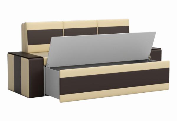 Кухонный прямой диван Лина бежевый/коричневый (Экокожа) - фото 2