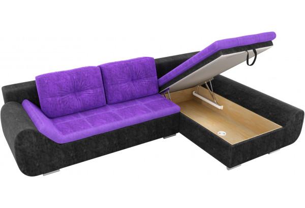 Угловой диван Анталина Фиолетовый/Черный (Велюр) - фото 6