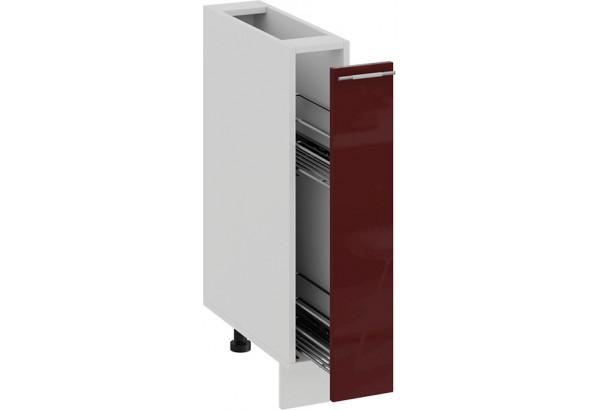 Шкаф напольный с выдвижной корзиной «Весна» (Белый/Бордо глянец) - фото 2