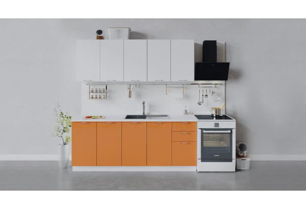 Кухонный гарнитур «Весна» длиной 200 см (Белый/Белый глянец/Оранж глянец) - фото 1