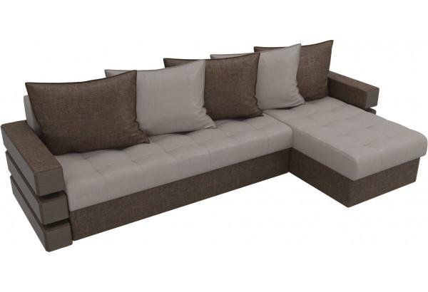 Угловой диван Венеция бежевый/коричневый (Рогожка) - фото 4