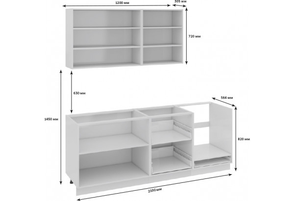 Кухонный гарнитур длиной - 210 см (со шкафом НБ) Фэнтези (Лайнс) - фото 3