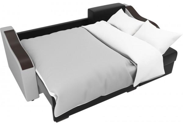 Угловой диван Монако Черный/Белый/Цветы (Экокожа/рогожка) - фото 8