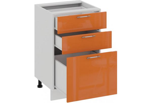 Шкаф напольный с тремя ящиками «Весна» (Белый/Оранж глянец) - фото 2