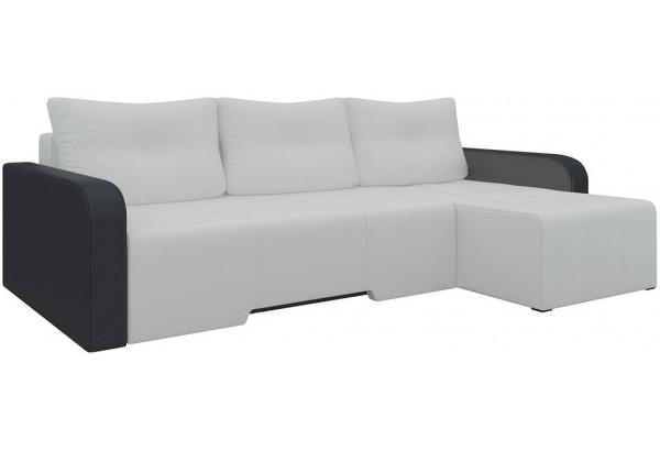 Угловой диван Манхеттен Белый/Черный (Экокожа) - фото 1