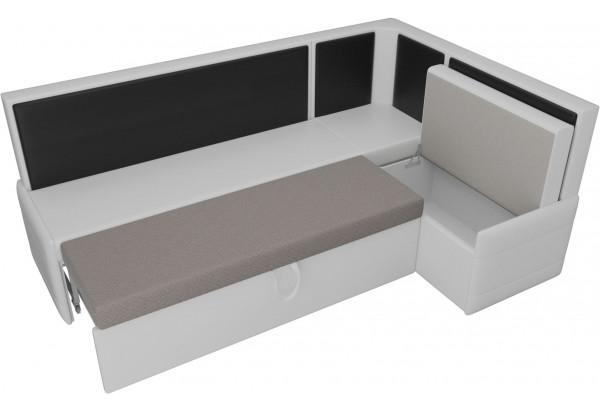 Кухонный угловой диван Кристина Белый/Черный (Экокожа) - фото 5