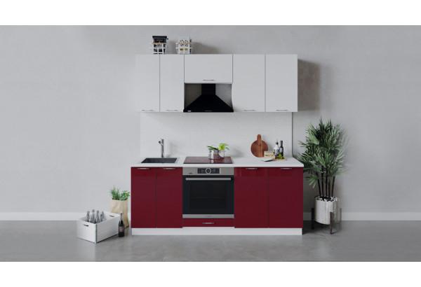 Кухонный гарнитур «Весна» длиной 200 см со шкафом НБ (Белый/Белый глянец/Бордо глянец) - фото 1