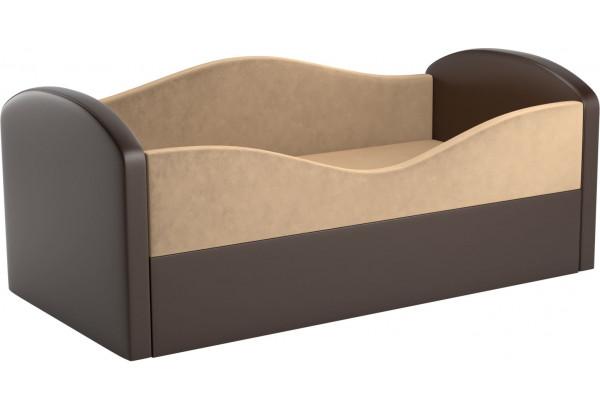 Детская кровать Сказка бежевый/коричневый (Микровельвет) - фото 1