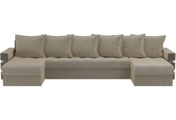 П-образный диван Венеция Бежевый (Микровельвет) - фото 2