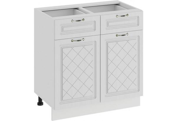 Шкаф напольный с двумя ящиками и двумя дверями «Бьянка» (Белый/Дуб белый) - фото 1