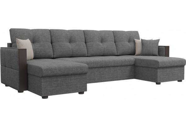 П-образный диван Валенсия Серый (Рогожка) - фото 1