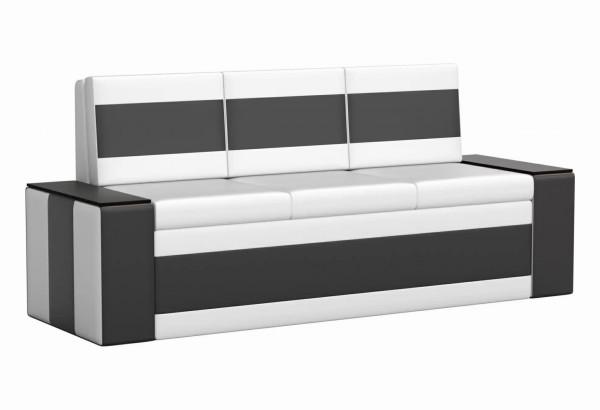 Кухонный прямой диван Лина Белый/Черный (Экокожа) - фото 1