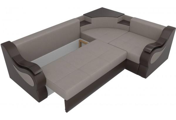 Угловой диван Митчелл бежевый/коричневый (Рогожка/Экокожа) - фото 6