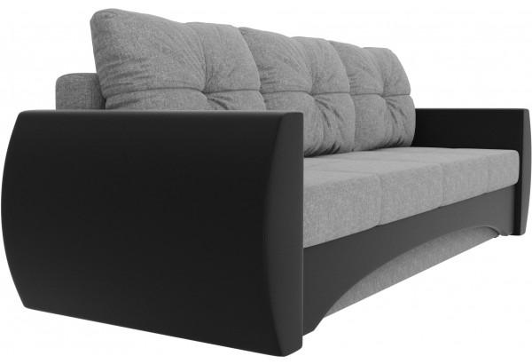 Прямой диван Сатурн Серый/черный (Рогожка/Экокожа) - фото 3