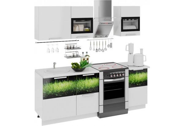 Кухонный гарнитур длиной - 210 см Фэнтези (Белый универс)/(Грасс) - фото 1