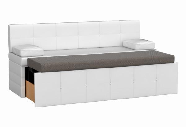 Кухонный прямой диван Лео Белый (Экокожа) - фото 2