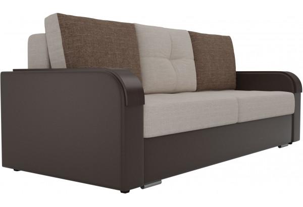 Прямой диван Мейсон бежевый/коричневый (Рогожка/Экокожа) - фото 4