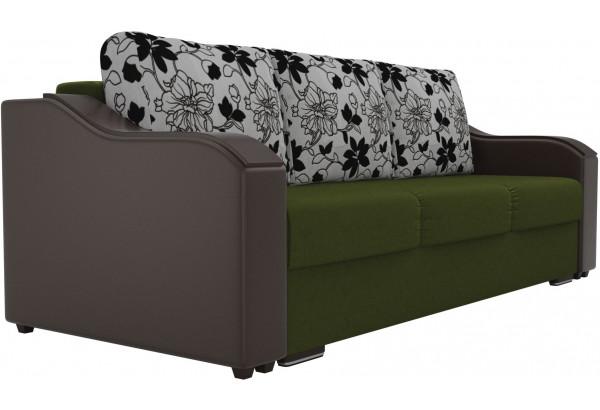 Прямой диван Монако зеленый/коричневый (Микровельвет/Экокожа/флок на рогожке) - фото 3