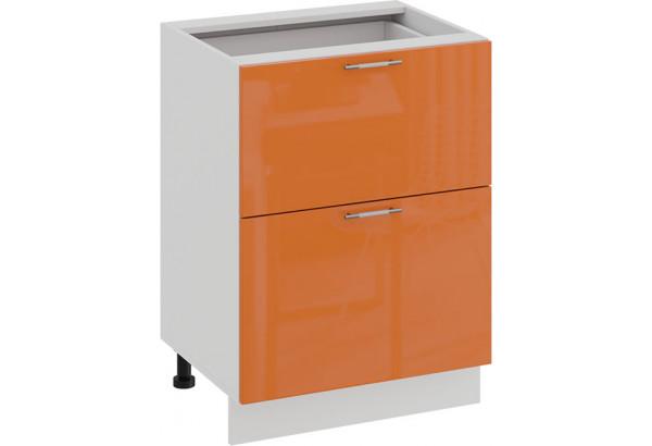 Шкаф напольный с двумя ящиками «Весна» (Белый/Оранж глянец) - фото 1