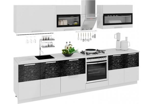 Кухонный гарнитур длиной - 300 см (со шкафом НБ) Фэнтези (Белый универс)/(Лайнс) - фото 1