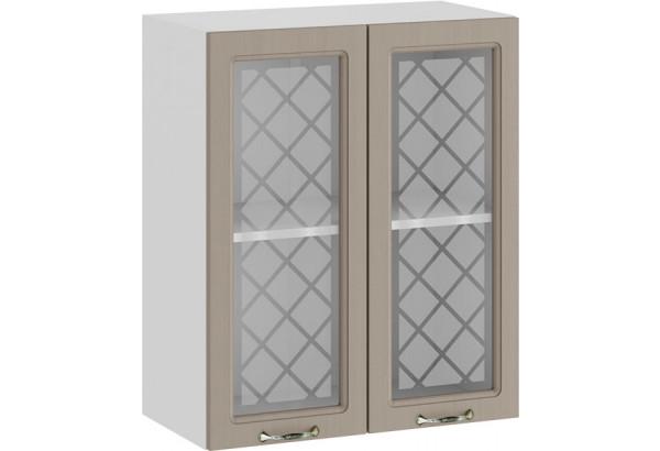 Шкаф навесной c двумя дверями со стеклом «Бьянка» (Белый/Дуб кофе) - фото 1