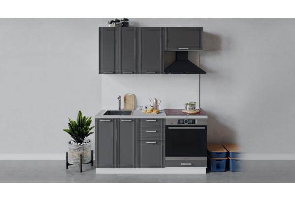 Кухонный гарнитур «Ольга» длиной 160 см со шкафом НБ (Белый/Графит) - фото 1