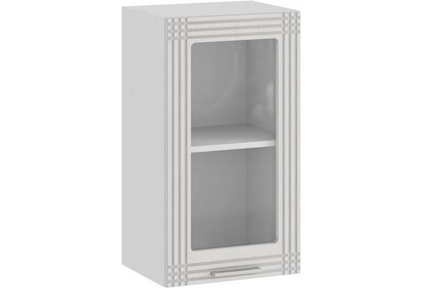 Шкаф навесной c одной дверью со стеклом «Ольга» (Белый/Белый) - фото 1
