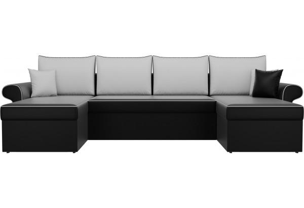 П-образный диван Милфорд Черный/Белый (Экокожа) - фото 2