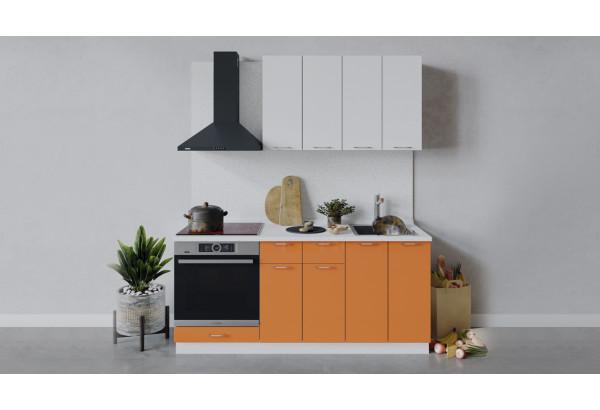 Кухонный гарнитур «Весна» длиной 180 см со шкафом НБ (Белый/Белый глянец/Оранж глянец) - фото 1