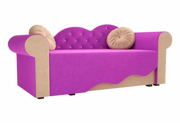 Детская кровать Тедди-2 фиолетовый/бежевый (Микровельвет) - фото 1