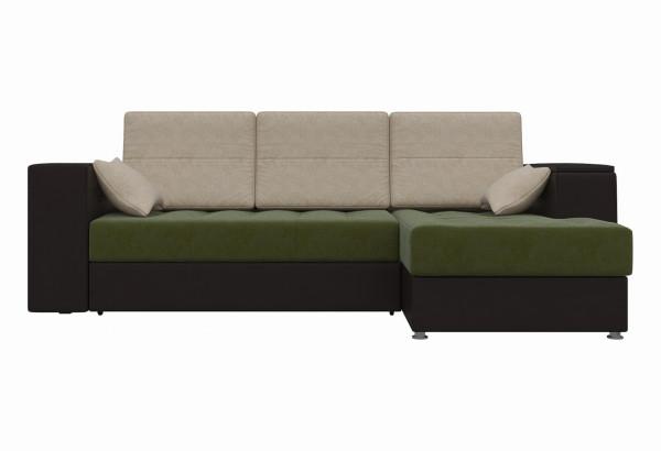 Угловой диван Атлантис зеленый/коричневый (Микровельвет) - фото 2