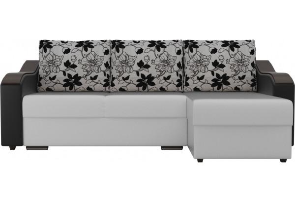 Угловой диван Монако Белый/Черный/Цветы (Экокожа/рогожка) - фото 2