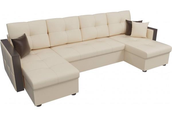 П-образный диван Валенсия Бежевый (Экокожа) - фото 4