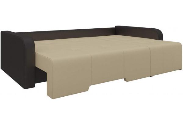 Угловой диван Манхеттен бежевый/коричневый (Экокожа) - фото 2