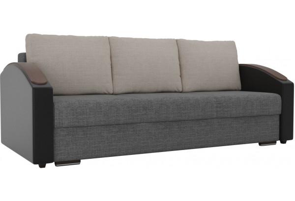 Прямой диван Монако slide Серый/черный (Рогожка/Экокожа) - фото 1