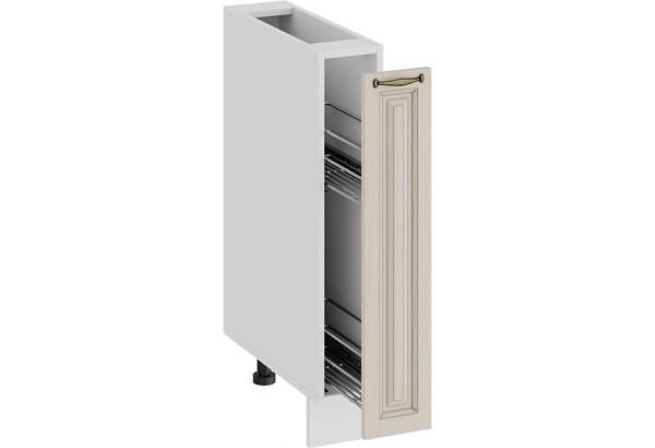 Шкаф напольный с выдвижной корзиной «Лина» (Белый/Крем) - фото 2