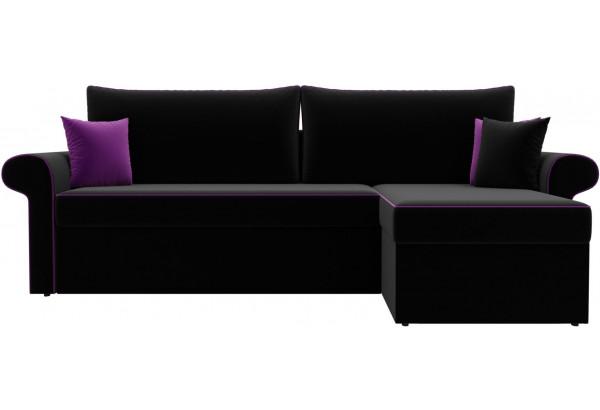 Угловой диван Милфорд Черный (Микровельвет) - фото 2