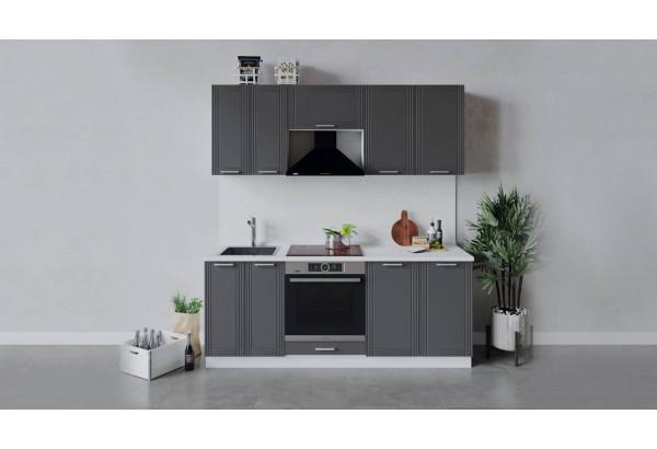 Кухонный гарнитур «Ольга» длиной 200 см со шкафом НБ (Белый/Графит) - фото 1