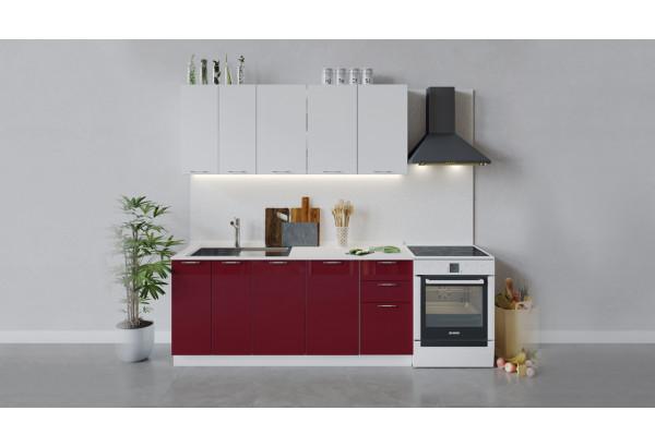 Кухонный гарнитур «Весна» длиной 180 см (Белый/Белый глянец/Бордо глянец) - фото 1