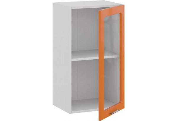 Шкаф навесной c одной дверью со стеклом «Весна» (Белый/Оранж глянец) - фото 2