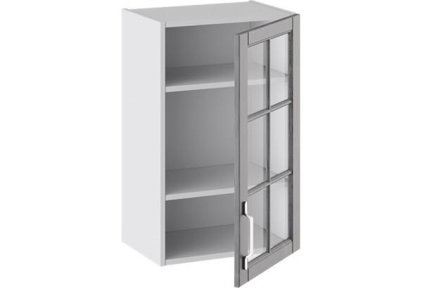 Шкаф навесной со стеклом (ПРОВАНС (Белый глянец/Санторини темный)) - фото 2