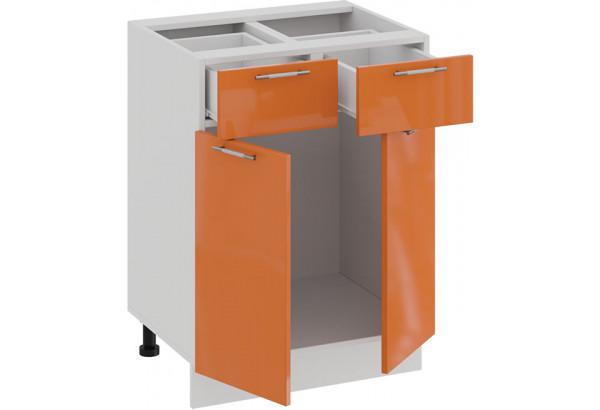 Шкаф напольный с двумя ящиками и двумя дверями «Весна» (Белый/Оранж глянец) - фото 2