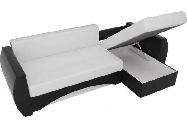 Угловой диван Сатурн Белый/Черный (Экокожа) - фото 5
