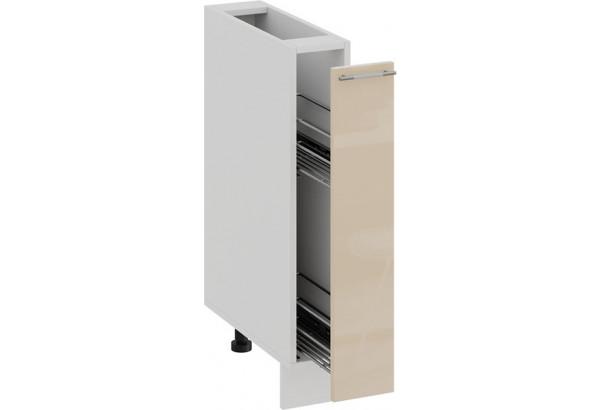 Шкаф напольный с выдвижной корзиной «Весна» (Белый/Ваниль глянец) - фото 2