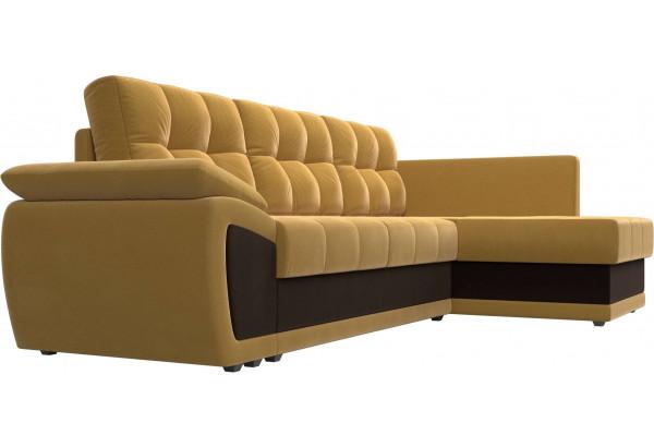 Угловой диван Нэстор прайм Желтый/коричневый (Микровельвет) - фото 3