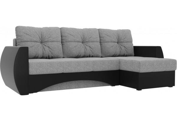 Угловой диван Сатурн Серый/черный (Рогожка/Экокожа) - фото 1