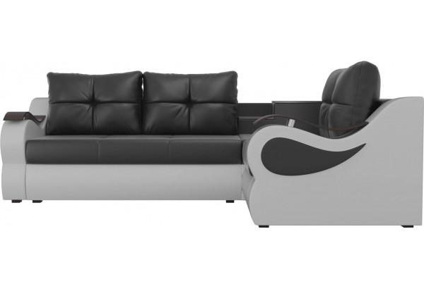 Угловой диван Митчелл Черный/Белый (Экокожа) - фото 2