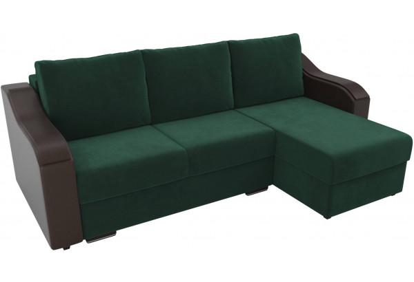 Угловой диван Монако зеленый/коричневый (Велюр/Экокожа) - фото 4