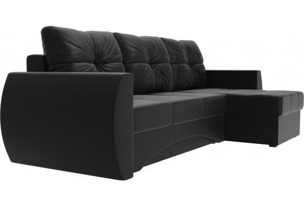 Угловой диван Сатурн Черный (Экокожа) - фото 3